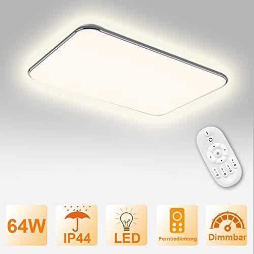 Froadp Dimmbar LED Deckenleuchte Panel Stufenlosen Dimmens mit Fernbedienung Flimmerfreie Deckenlampe IP44 Blendfrei für Küche Schlafzimmer Flur Wohnzimmer(64W)