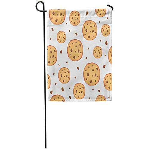Zome Lag Tuinvlaggen Seizoen Vlag Banners 32X45.7CM Biscuit Bruin Chip Patroon Cookies Wit Chocolade Cafe Cake Outdoor Decoratieve Huis Yard Vlag