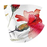 Photo de Q&SZ Sweatshirt Outdoor Headband Floral Watercolor Painting Style Artwork of Red Blooming Carnations Spring Nature Scarlet Green Orange Scarf Neck Gaiter Face Bandana Scarf Head Scarf par