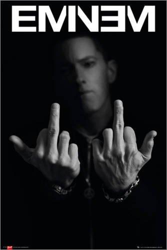 Poster Eminem - Finger - preiswertes Plakat, XXL Wandposter