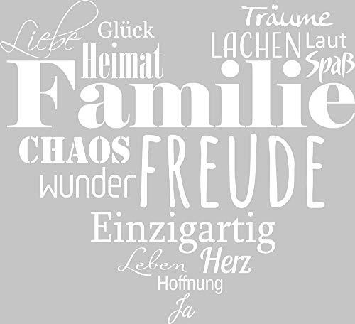 GRAZDesign Wandtattoo Familien - Tattoo als Herz an die Wand - Wanddeko für Wohnzimmer/Schlafzimmer/Küche / 44x40cm / 010 Weiss