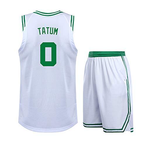 DERTL Für NO. 0 Jayson Tatum Boston Celtics Fans Jungen Mädchen Basketball Trikots Schule Sport Wettbewerb Uniformen ärmellose Basketball Sets Teens Kinder-White-28