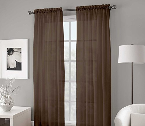 """Gorgeous Home 2PC Brown Chocolate Solid Soft Voile Sheer Window Curtain Panels Drapes 54"""" Wide X 84"""" Long"""