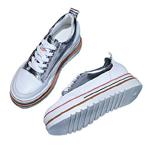 Zapatillas de Plataforma para Mujer Impermeables Antideslizantes Informales con Cordones Zapatos Deportivos para Mujer Ligeros Resistentes al Desgaste Zapatillas para Caminar