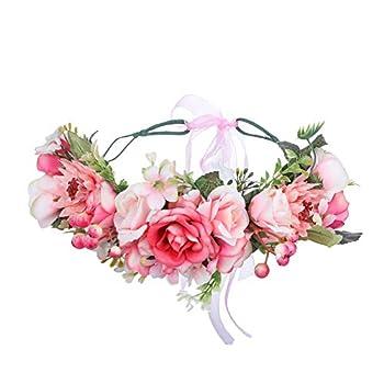 HAIMEIKANG Adjustable Flower Crown Headband - Women Girl Festival Wedding Flower Wreath Headband  Pink