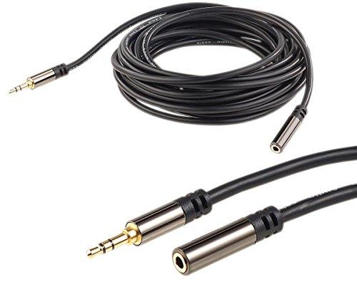 auvisio Kopfhörer Verlängerung: 3,5-mm-Klinken-Verlängerungskabel, Stereo, 5 m, vergoldet (Kopfhörer Verlängerungskabel)