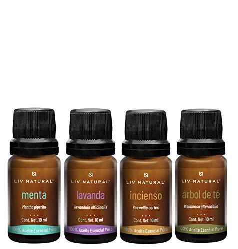 Kit Belleza 4 Aceites Esenciales PREMIUM LIV natural® 100% puro y natural, grado terapéutico, para aromaterapia, difusor, cuidado personal y belleza.