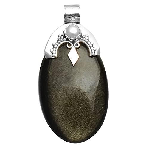 Silver Palace Colgante antiguo hecho a mano de plata de ley 925 de obsidiana negra natural para mujeres y hombres