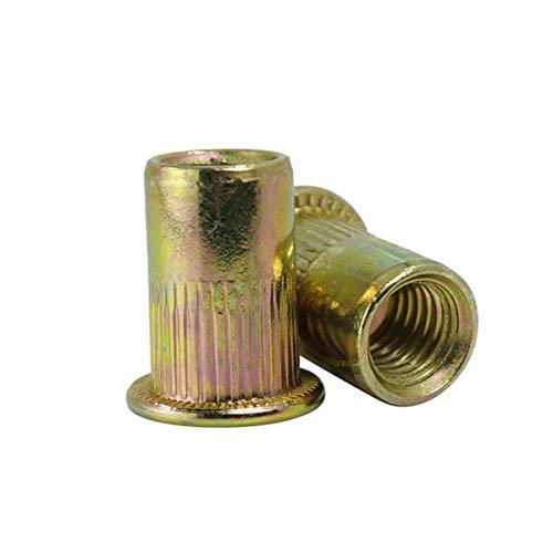 Luchang 20 tuercas moleteadas M3 M4 M5 M6 M8 M10 de acero al carbono chapado en zinc con cabeza plana remache roscado M4 20 unidades, tuerca remachadora