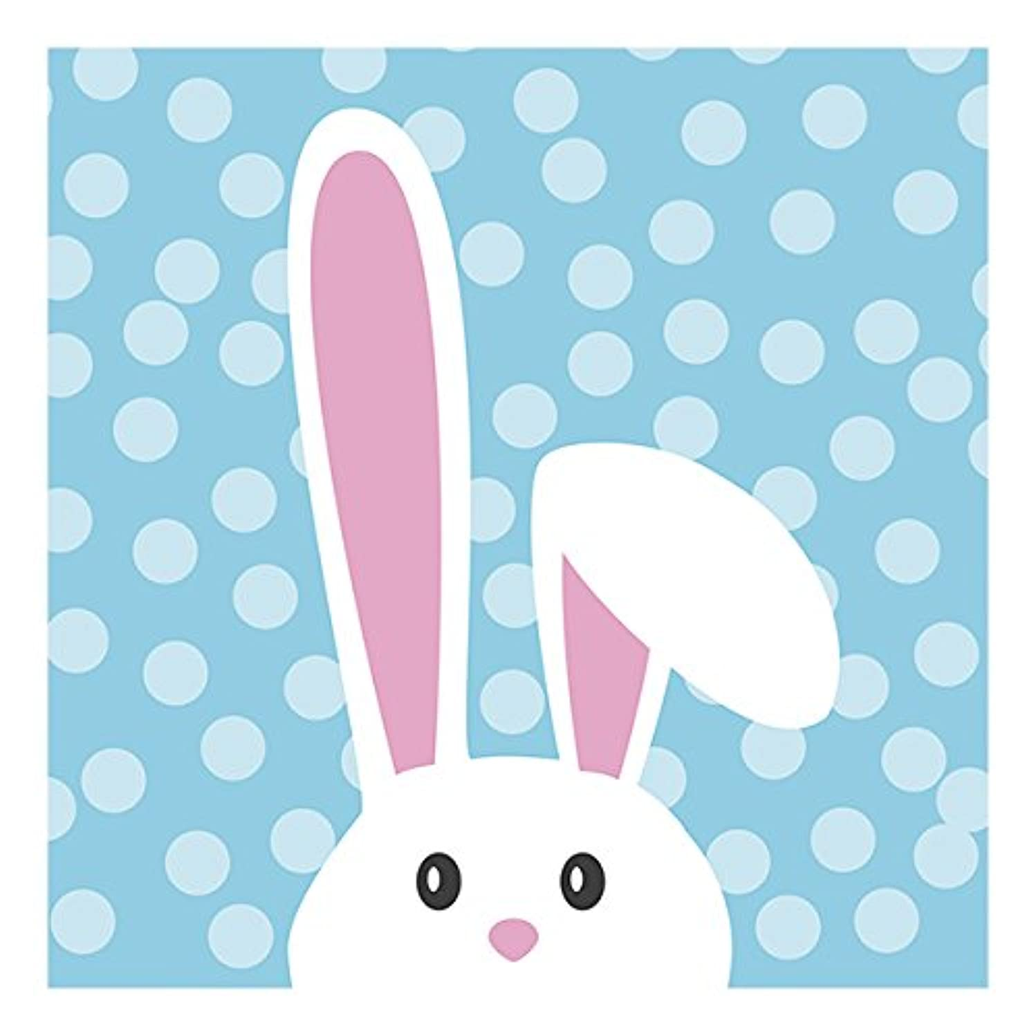 Graphique Pop Up Bunny Party Napkins - 20 Soft Triple-Ply Tissue Napkins With Adorable Bunny on Blue Polka Dots, 5