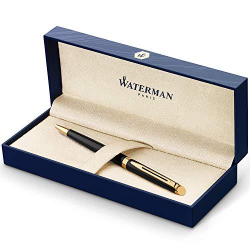 Waterman Hémisphère Kugelschreiber | Hochglänzend Schwarz mit Zierteile aus 23K Gold | Mittlere Spitze | Blaue Tinte | Geschenkbox