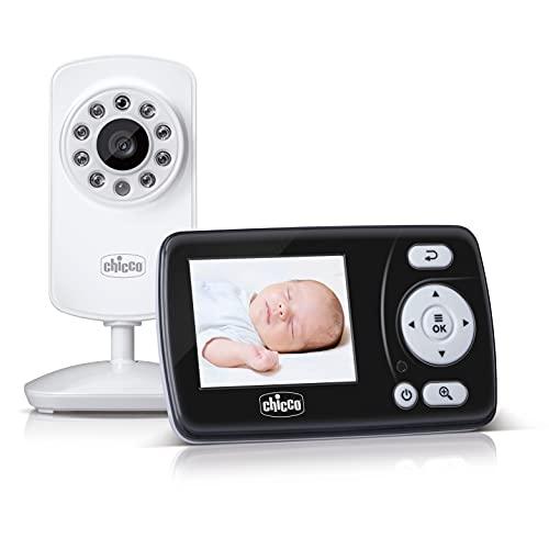 """Chicco Video Baby Monitor Smart, Vigilabebés con Cámara para Ver a Bebés y Niños con Pantalla a Color LCD 2.4"""", Alcance de 200 m, Visión Nocturna, Activación por Voz y Batería de Larga Duración"""