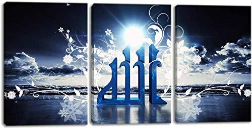 ZDFDC Islamische arabische Kalligraphie-Wandkunst-Gemälde auf Leinwand 3-teilige islamische Plakate und Drucke für Wohnzimmer-Wanddekor-Bilder