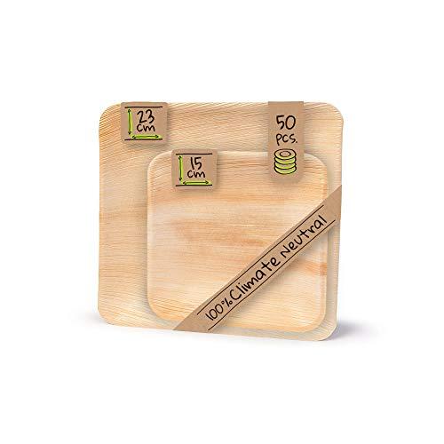 BIOZOYG Palmware - hochwertiges Palmblattgeschirr Einweg Teller Set I 23x23cm und 15x15cm je 25 Stück Einwegteller quadratisch I edles Partygeschirr Einmalgeschirr I Wegwerf Geschirr 50 Stück