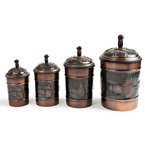 nu steel Pineapple Antique Copper Stainless Steel 4pc Canister Set, Beautiful Food Storage Container for Kitchen Counter, Tea, Sugar, Coffee, Caddy, Flour Canister with Rubber seal lid, TG-590AC-SET4