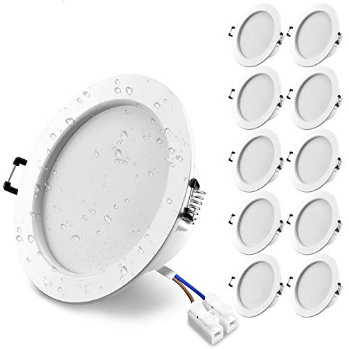 Wowatt 10er Set 12W LED Einbaustrahler 38mm Ultra Flach Deckenspots 2800k 960lm Hell Warmweiß IP44 Badstrahler AC 230V Ersetzt 100W Halogenlampe Slim Bad Einbaustrahler