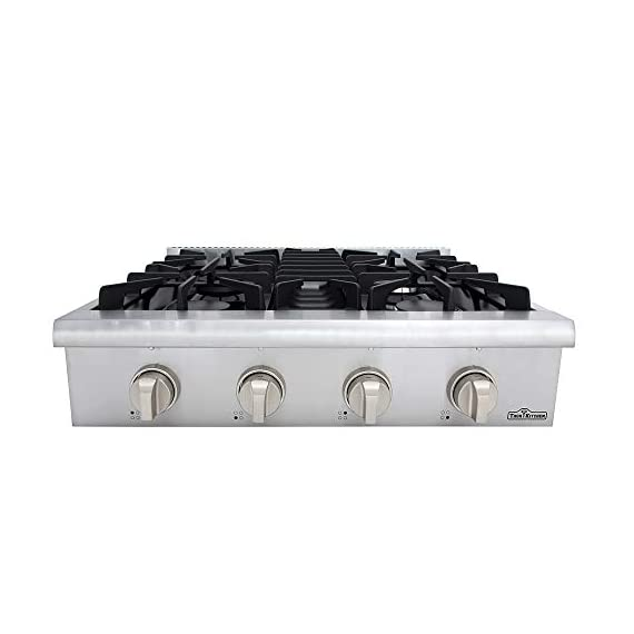 Thor Kitchen Pro-Style Gas Rangetop with 6 Sealed Burners 36 - Inch, Stainless Steel HRT3618U 4 Cooktop:3 single burner x 18,000BTU,3 dual burner x 15,000BTU, 18,000BTU stainless steel griddle Black Porcelain Drip Pan easy cleaning 3 x Heavy Duty Flat Cast-iron Cooking Grates