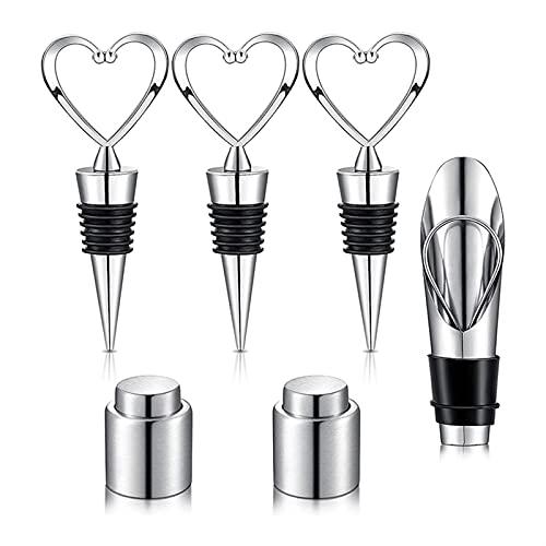 CZXKJ 6 Piezas de Tope de topes de Vino Tapón de Vino del corazón para el día de San Valentín Tapones de vacío Reutilizables Viernes de Vino con tapón