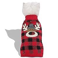 kyeese 犬 服 冬 セーター 冬 クリスマス 新年 防寒着 暖かい 可愛い おしゃれ ドッグウェア ニット 犬の服 ペット服 小型犬 中型犬 秋冬 お出かけ お散歩 赤い