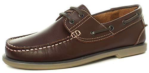 Dek Caballeros Azul Marino Cuero Marrón Encaje Zapatos Náuticos Tamaño RU 6 7 8 9 10 11 12 - Marrón Piel, EU 39