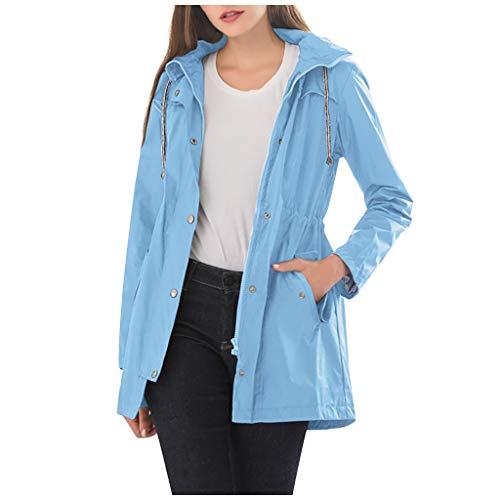 KEYIE Women Hooded Raincoat Waterproof Zipper Mid-Length Windproof Jacket Sky Blue