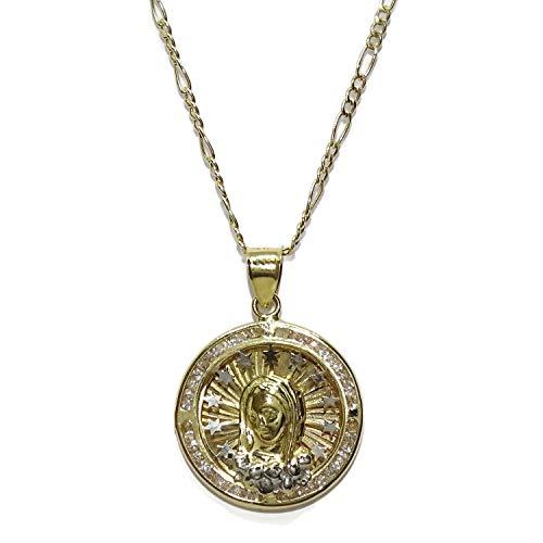 Never Say Never Medalla de Oro Amarillo de 18k con la Virgen rodeada con 25 circonitas de la Mejor Calidad y 11 Estrellas de Oro sobre Nube de Oro Blanco de 18k y Cadena 3x1 de 45cm Todo Oro 18k