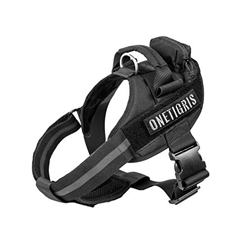 OneTigris MAD Hound Rugged K9 Vest Harness for Medium & Large Dog (Black, Medium)