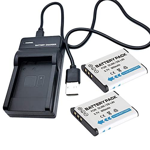 Kit de cargador de batería para cámaras de viaje LCD USB, compatible con Panasonic HX-DC1, HX-DC2, HX-DC3, HX-DC10, HX-DC15 accesorios de videocámara (color 2 pilas y 1 cargador USB)