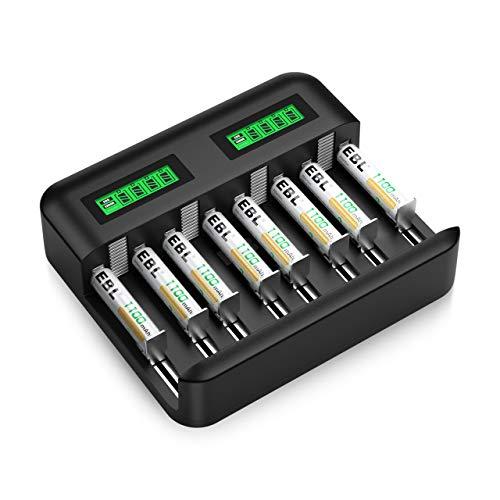 EBL Caricabatterie Universale 8 slot per AA e AAA C e D Batterie Ricaricabili con LCD Display e Porta USB, Caricatore + 1100mAh AAA Batterie Ricaricabili da 8 pezzi