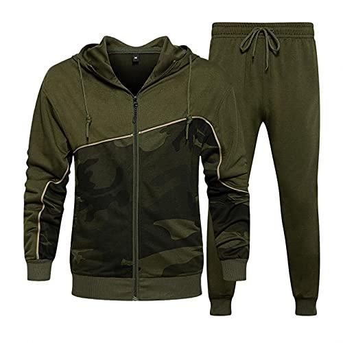 RYTEJFES Sudadera con capucha para hombre con capucha de camuflaje, ropa deportiva, chaqueta para correr, chaqueta deportiva, sudadera, abrigo y pantalones., verde militar, L