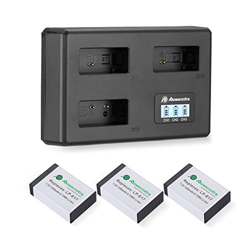 Powerextra LP-E17 Battery Charger Set for Canon EOS RP, Rebel SL2, SL3, T6i, T6s, T7i, EOS M3, M5, M6, EOS 200D, 77D, 750D, 760D, 800D, 8000D, KISS X8i (3 Channel USB Charger LCD Display)