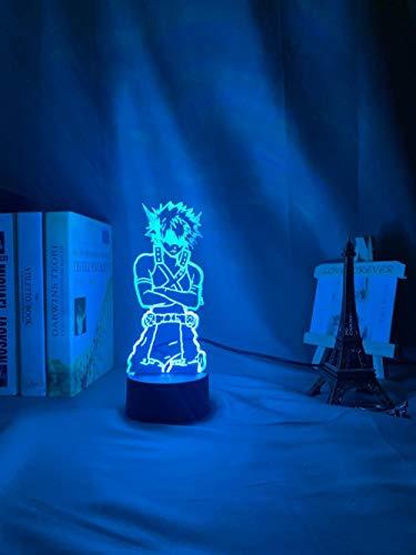 LYTLM - Lámpara de noche 3D, luz nocturna LED, diseño de Mi héroe, academia, Katsuki, Bakugo, para niños, dormitorio, decoración, mesa de cambio de color