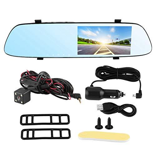 Coche DVR Espejo retrovisor Video Recroder Dual 1080P Espejo Dash Cam Cámara de visión trasera de respaldo impermeable Lente dual frontal y trasera, Visión nocturna, Monitor de estacionamiento, Grabac