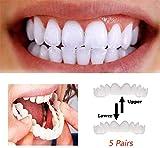 XIAOCUI 5 par Dentadura,simulación de Silicona Superior E Inferior Reutilizable para Adultos Dentadura Set Cosméticos, on Smile Blanqueamiento De La Fit