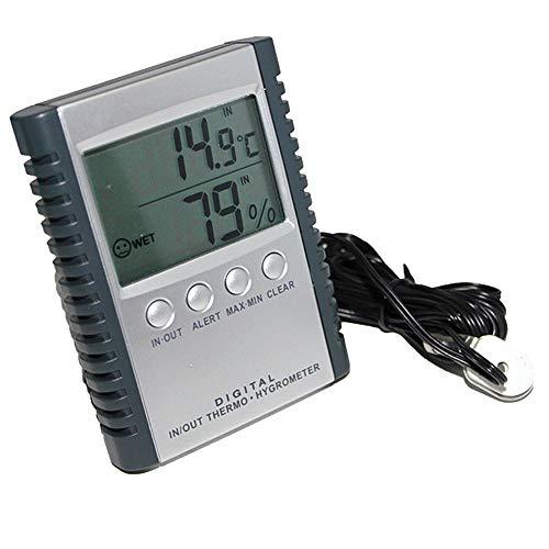 QYY Frigorífico/Congelador Termómetro con sonda, Termómetro LCD Digital Higrómetro Temperatura electrónica Medidor de Humedad Estación meteorológica Probador Interior al Aire Libre