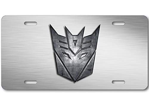 Voss Collectables Transformers Decepticon Stone Logo Aluminum Car Truck License Plate Tag Steel