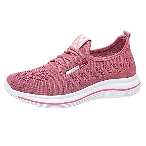 URIBAKY Zapatillas de running ligeras, cómodas, plataforma, de moda, para mujer, zapatos de deporte, zapatillas de correr, transpirables, atléticas cortas, rosa, 39 EU