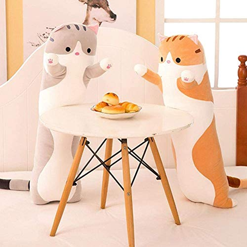 Cat Pillow, Cartoon Cat Soft Plush Long Throw Pillow, Cuddly Cat Plush Soft Toys for Kids Girlfriend Children Skin-Friendly and Comfortable Cushion (Orange, 70cm)