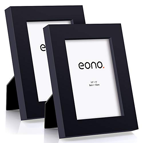 Eono by Amazon - 9x13 cm Bilderrahmen (2er-Pack) Hergestellt aus Massivholz mit Hochauflösendem Glas Geeignet zum Aufstellen oder Wandhängend Fotorahmen mit Ständer Schwarz