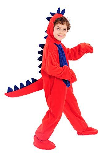 Dinosaurier Rot Dino Drache Kinder Kostüm 110 - 116 für Fasching Karneval Rummelpott Kinderkostüm