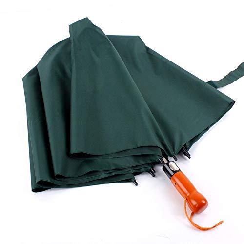Ciruela Dos Pliegues Dos Pliegues Paraguas automático Mango de Madera Maciza Super Cortavientos Paraguas de Golf Paraguas Plegable Verde