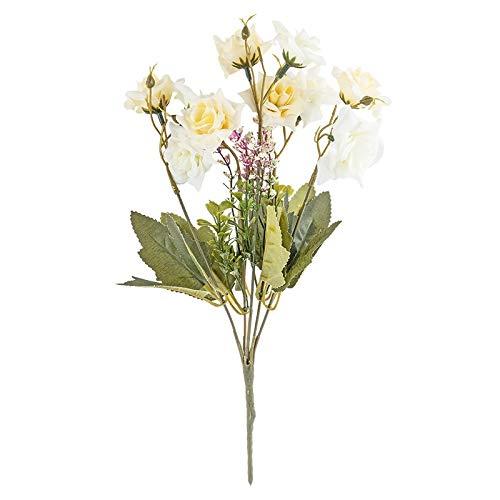 Künstliches Blumenarrangement | Blumenstrauß | Blütenbusch | Verschiedene Blumen und Farben | Deko-Blüten mit langem Stiel | Blüten Ø ca. 3-6 cm (Rosen | 30 cm | 10 große Blüten | weiß)