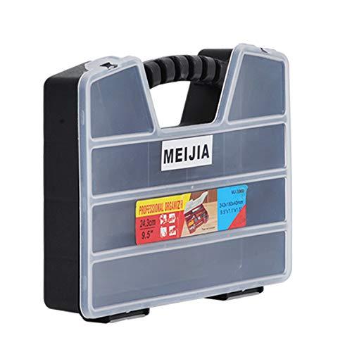 MEIJIA Caja de herramientas con asa portátil con divisores y pestillos extraíbles, blanco y negro, 9.57'x 6.89'x 1.57'
