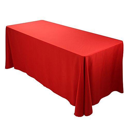 ETEX 90x156Inch Polyester Oblong Tablecloth Fit for Rectangular Table Red