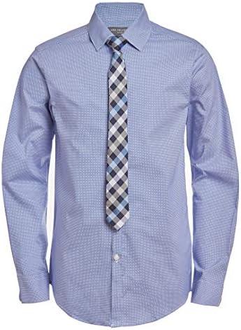 Van Heusen Boys Big Long Sleeve Dress Shirt and Tie Set Mazarine Blue 14 16 product image