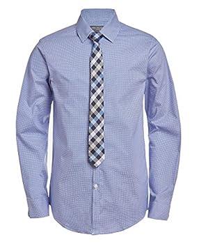 Van Heusen Boys  Big Long Sleeve Dress Shirt and Tie Set Mazarine Blue 10-12