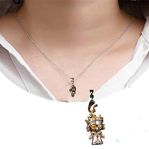 ZQSLZWZW Collar de muñeco vudú,Collar de muñeca de Payaso de Plata 925 Bonito para Mujer y Hombre, Accesorios de Collar Retro con Personalidad de Juntas móviles para Fiestas de Cosplay D