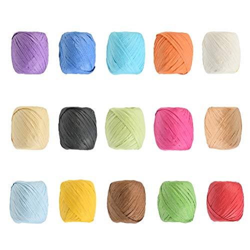 15pcs Rollos de Cinta de Papel 20m de 15 Colores de Rafia Papel Colorido Hilo para Manualidades Cinta de Papel de Rafia para Caja de Regalo Caja Embalaje