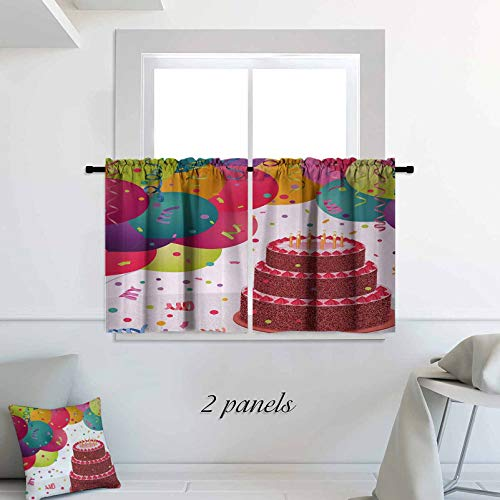 ScottDecor Birthday Kitchen Curtain Strawberry Triplex Cake with Candles Ribbons Balloons Newborn Celebration Theme for Small Window Kitchen Bedroom Bathroom 30 x 45 inch Multicolor