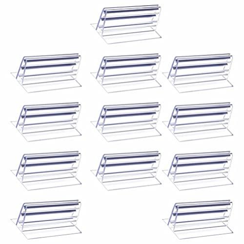 iplusmile 16 Piezas de Soportes de Etiquetas de Plástico Transparente para Tienda de Supermercado Estante de Alambre Precio Al por Menor Etiqueta de Mercancía Estante de Exhibición